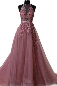 Halter Dusty Red Lace Appliques Tulle A line Long Prom Dresses PFP0228