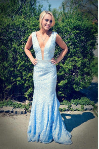 Light Blue Deep V-neck Long Lace Mermaid Prom Dresses PFP1138