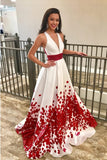 Charming Red Beaded Floral A Line Long Prom Dresses with Deep V-Neck PFP0229