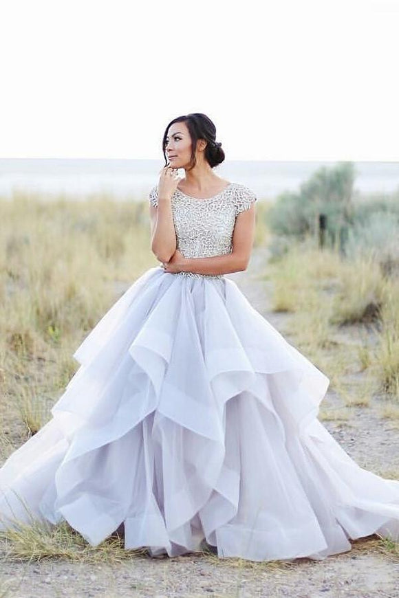 Cap Sleeve Lace Beading A-line Ball Gown Long Prom Dresses PFP1142