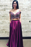 Two Piece Straps Beading Plum Purple Long Prom Dress With Pockets