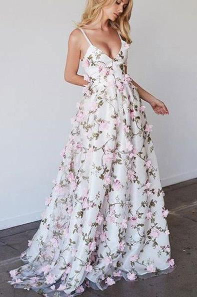 Princess A-line V-neck Straps Floral Lace Long Prom Dresses PFP0232