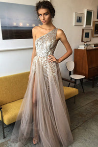 One Shoulder Tulle A Line Shinning Side Split Elegant Long Prom Dresses PFP0233