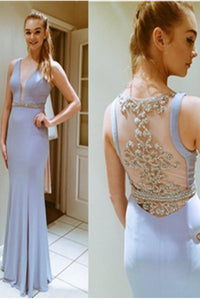 Mermaid Lavender Long Close Back Beading V-neck Prom Dresses PFP1150