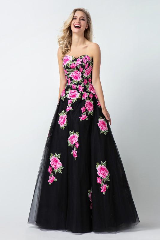 Black Sweetheart Flower Appliques Long A Line Tulle Prom Dresses,Evening Dresses PFP0235