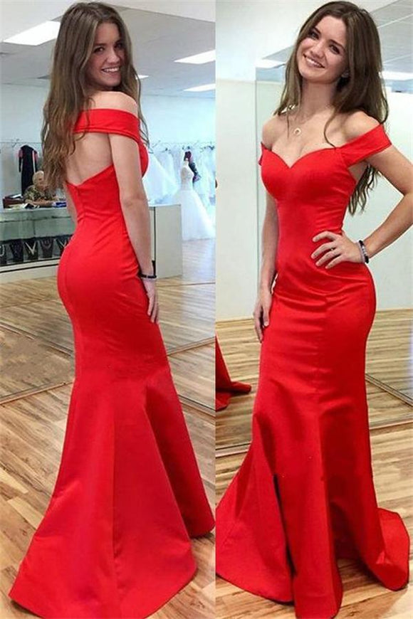 Simple Cheap Handmade Sexy Red Satin Mermaid Long Prom Dresses PFP1157