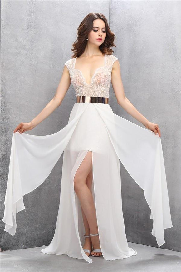 Pretty A-line Handmade See Through Long Chiffon Prom Dresses PFP1158