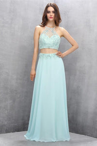 Mint Chiffon Two Pieces Beading Backless Formal Prom Dresses PFP1159