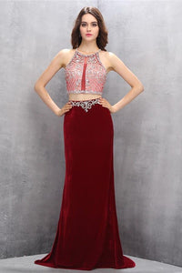 Gorgeous Long Beaded 2 Pieces Beading Mermaid Evening Gowns Prom Dresses PFP1160