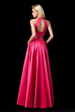 Two Piece Halter Sleeveless Open Back A Line Long Prom Dresses,Evening Dresses PFP0239