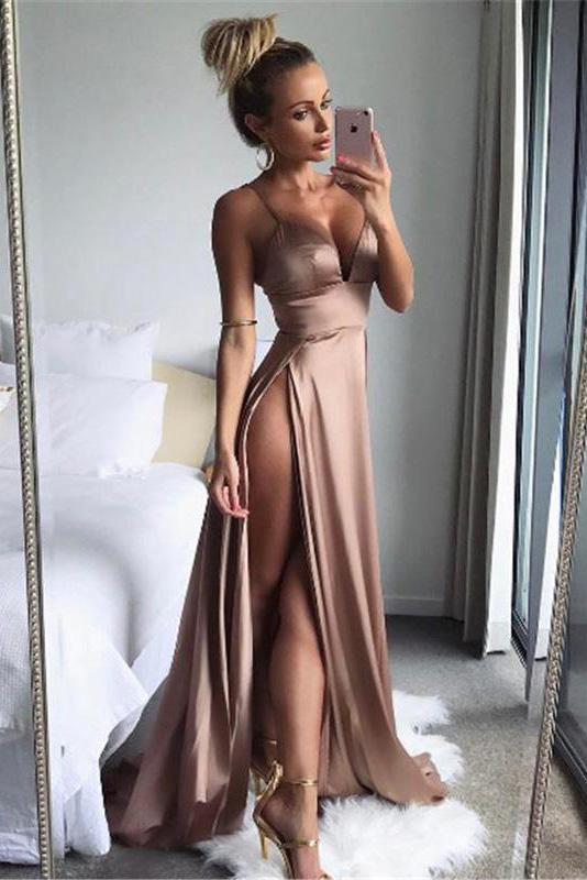 A Line Spaghetti Straps Sexy Slit Prom Dresses. Cheap Long Evening Dress
