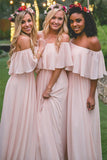 Simple Pink Off the Shoulder Pink Ruffles Long Bridesmaid Dresses PFB0003