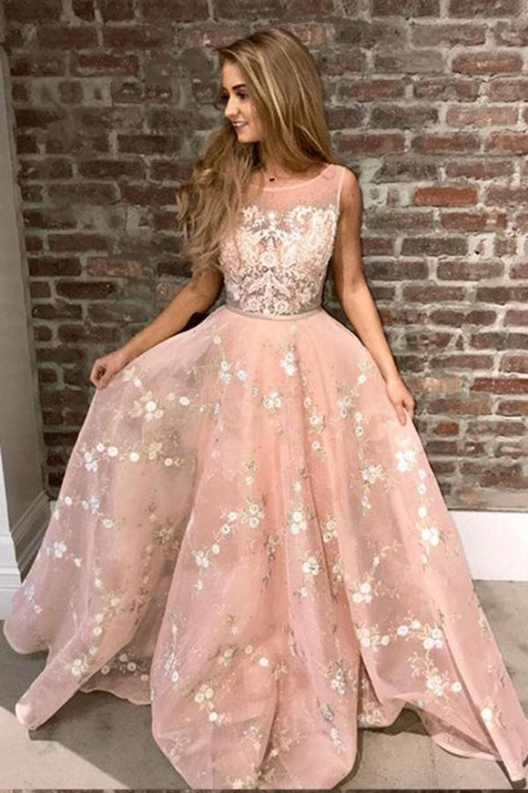 Stylish A-Line Round Neck Pink Prom Dress with Lace Appliques Online PFP0243