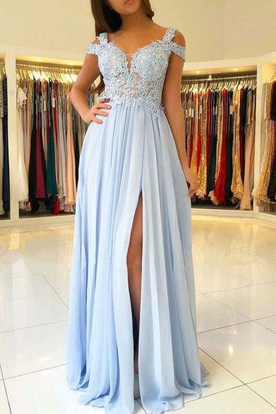 Cheap Light Blue Chiffon Split Long Prom Dresses With Lace Appliques PFP0244