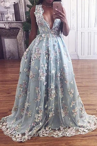 Floral Lace Deep V-neck A Line Light Sky Blue Princess Prom Dress PFP0245