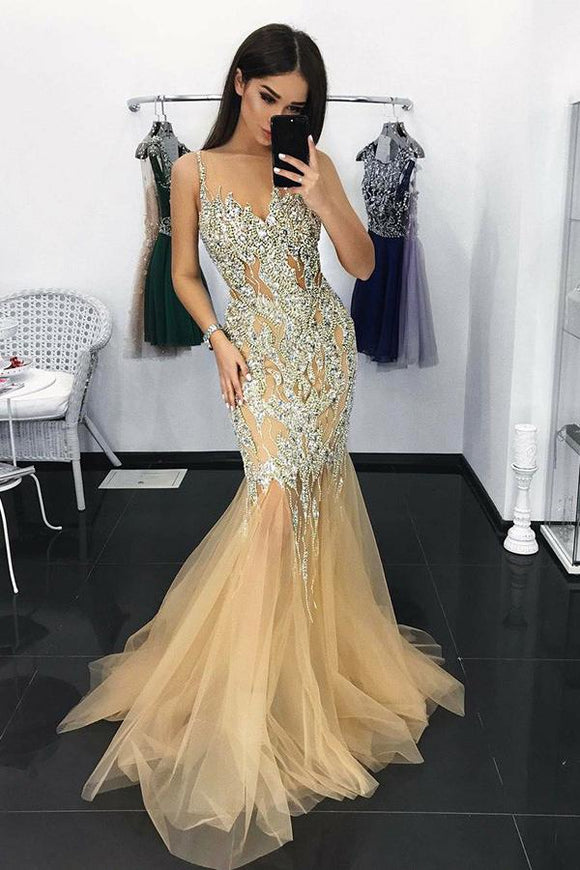 Charming Mermaid Illusion Neck Tulle Long Prom Dress with Appliques Sequins PFP0246