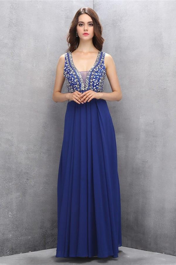 Chiffon Beading Royal Blue V-neck Long Elegant Prom Dresses PFP1163