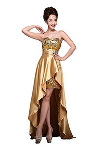 Sweetheart Gold Long Beading Handmade Prom Dress Evening Dresses PFP1164