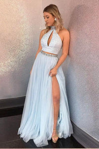 Light Blue Two Piece High Neck Sequins Rhinestone Tulle Long Slit Chic Prom Dress PFP0249