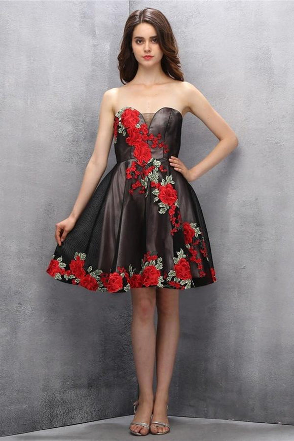Beauty Black Short Sweetheart Handmade Homecoming Dresses PFP1165