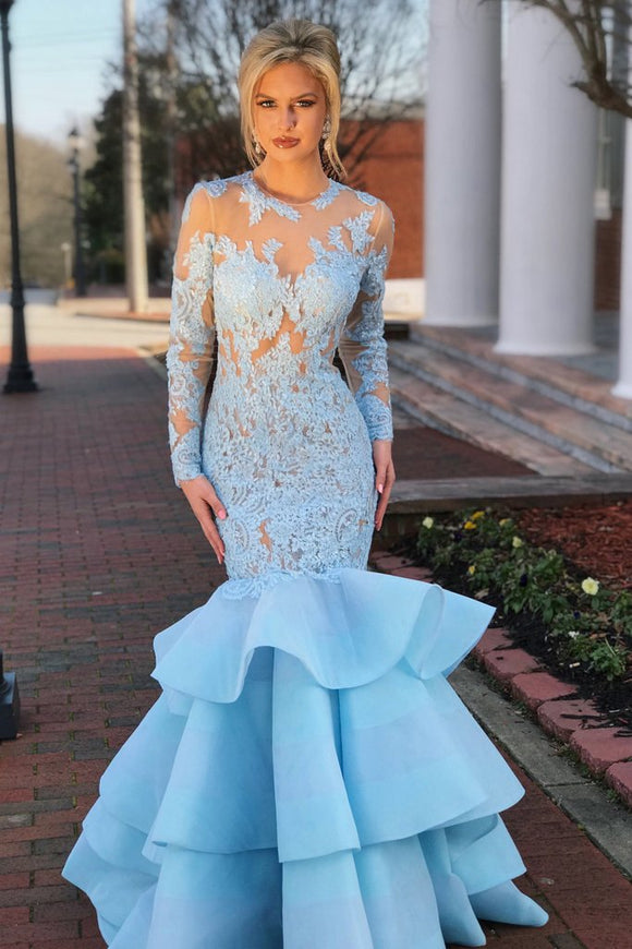 Elegant Long Sleeves Mermaid Blue Lace Layered Prom Dress with Open Back PFP0251