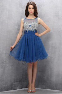 Blue Beading A-line Tulle Elegant Homecoming Dresses PFP1166