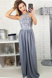 Modest Long Grey Lace Top Sleeveless Split Prom Dresses,Evening Dress PFP0252
