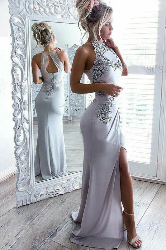 Sexy Sheath Jewel Light Grey Spandex Open Back Prom Dress with Appliques Split PFP0253