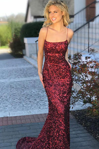 Sexy Sheath Mermaid Spaghetti Straps Criss Cross Burgundy Sequined Prom Dress PFP0256