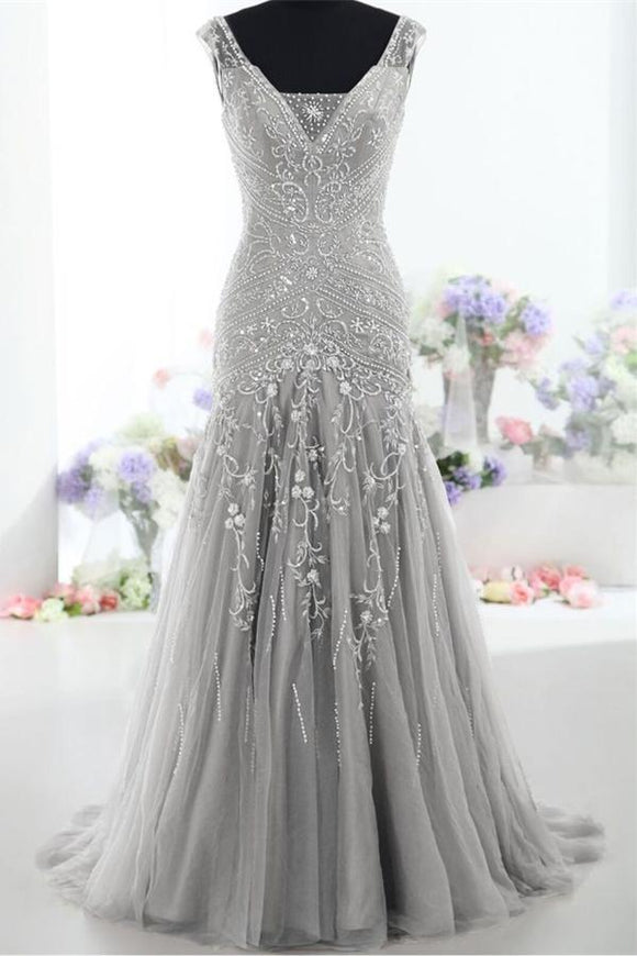 Modest Silver V-neck Long Mermaid Lace Up Prom Evening Dresses PFP1172