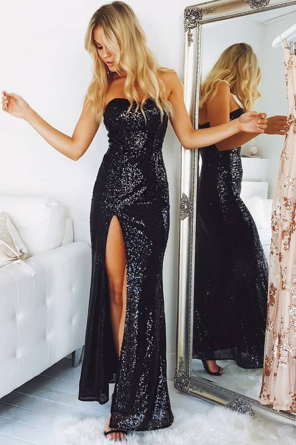 Sexy Sweetheart Black Sequins Long Prom Dress With Front Slit PFP0258
