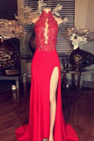 Red lace high neck long slit prom dress,formal evening dress for girls PFP0262