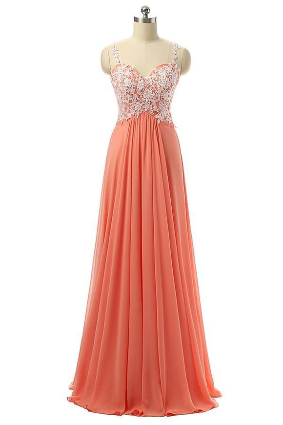 Beautiful Coral Chiffon White Lace Long Prom Dresses With Straps PFP1179
