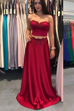 Unique Two Piece Long Satin Sweetheart Burgundy Prom Dress PFP0264