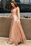 New Arrival Two Piece Sequined Cheap Long A Line Prom Dress PFP0267