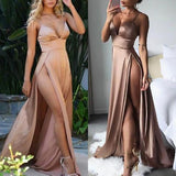 A Line Spaghetti Straps Sexy Slit Prom Dresses. Cheap Long Evening Dress PFP0517