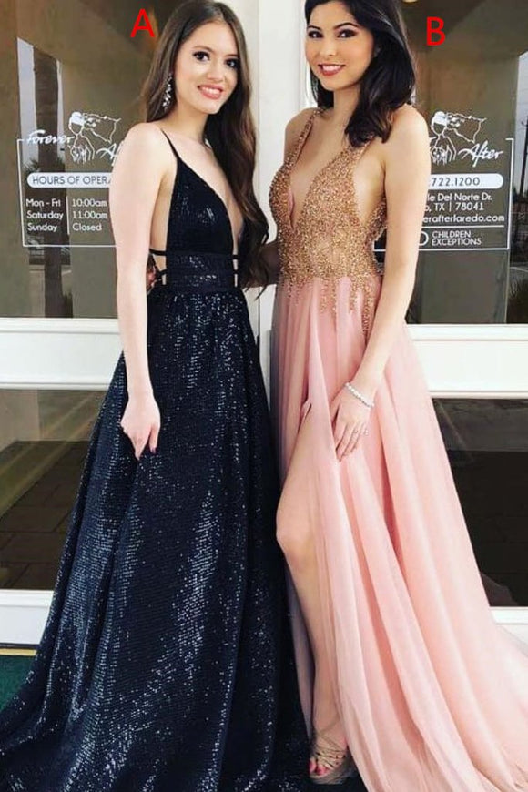 Unique V Neck Sleeveless A Line Long Formal Prom Dress PFP0273