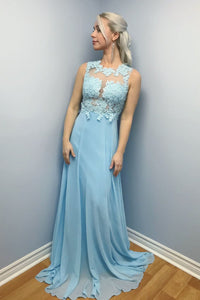Elegant A-line Blue Chiffon Long Lace Appliques Prom Dress PFP0274