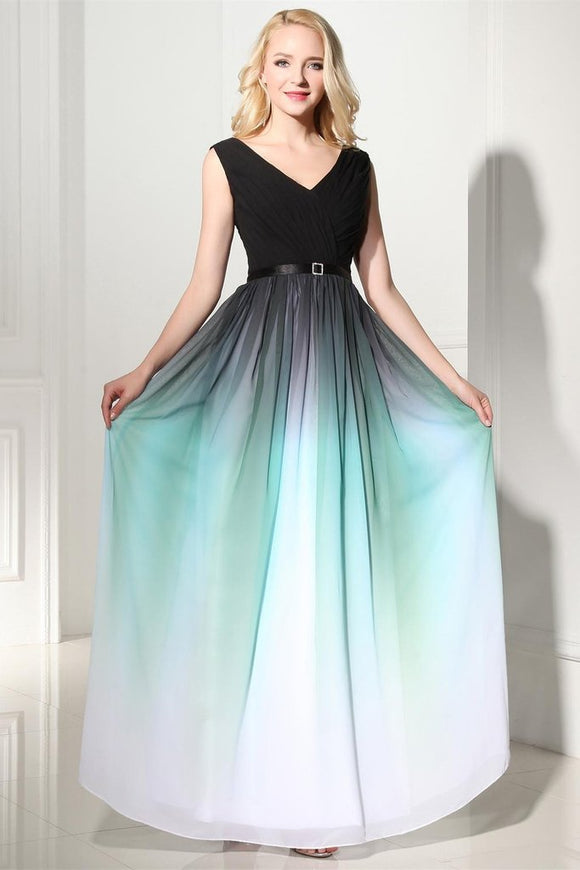 2019 Pretty V-neck Back Up Lace Ombre Chiffon Long Prom Dresses PFP1186