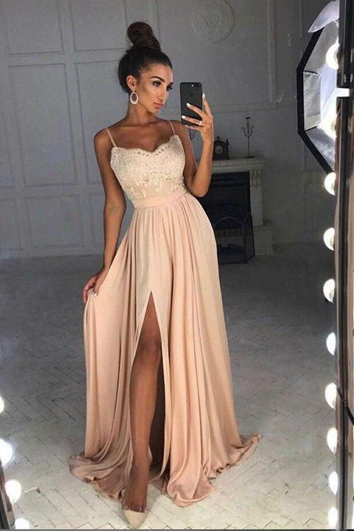 Simple Spaghetti Straps Lace Top Side Split Long A Line Prom Dresses PFP0276