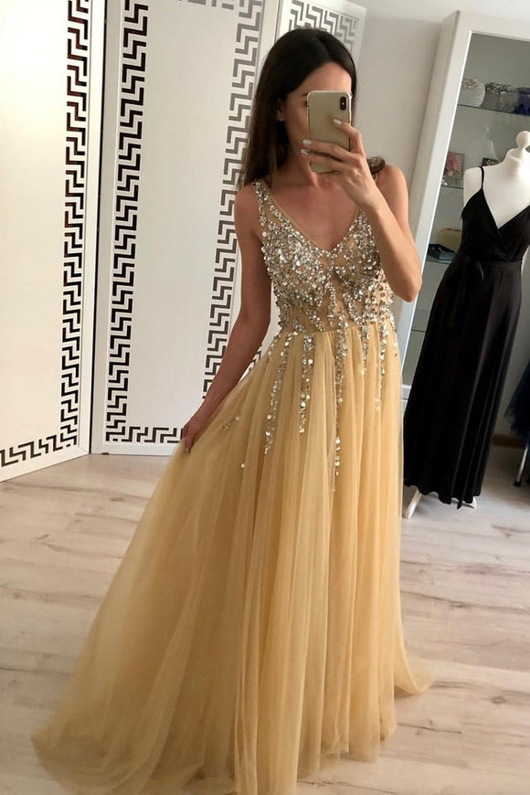 Charming A Line Tulle V Neck Floor Length Prom Dresses Beads Sequins