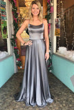 Grey Spaghetti Straps Long A Line Sexy Back 2018 Simple Prom Dress PFP0278