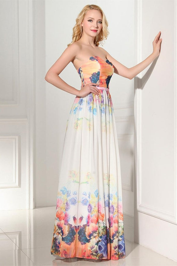 2019 Newest Beautiful Cheap Sweetheart Printed Chiffon Prom Dresses PFP1187