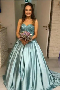Princess Blue Beaded Sweetheart Strapless Ball Gown Long Prom Dresses PFP0282
