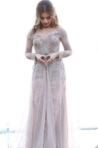 2019 Chic A line Off-the-shoulder Long Sleeves Tulle Appliques Prom Dress PFP0285