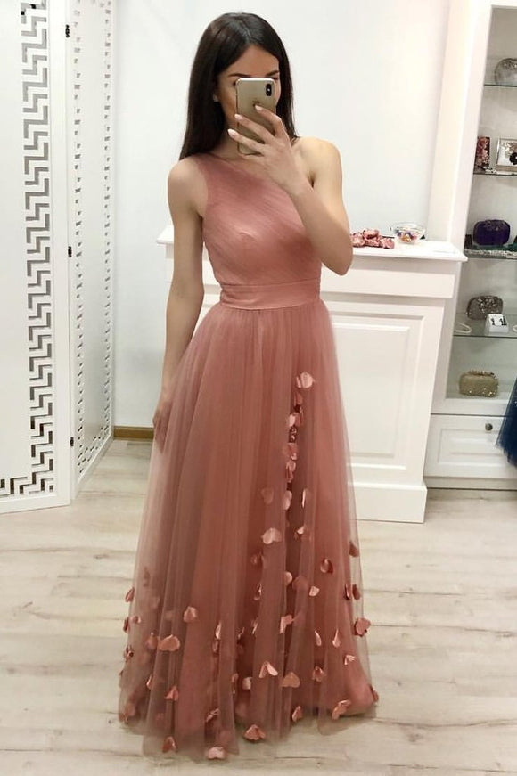 One Shoulder A Line Tulle Floor Length Prom Dresses Cheap Long Evening Dress