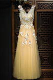 Charming Flowy Long Tulle V Neck Prom Dress With Lace Butterflies PFP0287