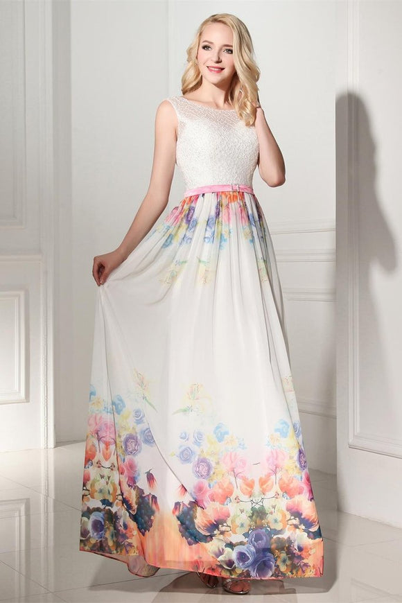 2019 Pretty Long Cap Sleeves Printed Chiffon Charming Prom Dresses PFP1190