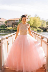 Charming Ball Gown Beading Long Blush Pink Tulle Prom Dresses PFP0289