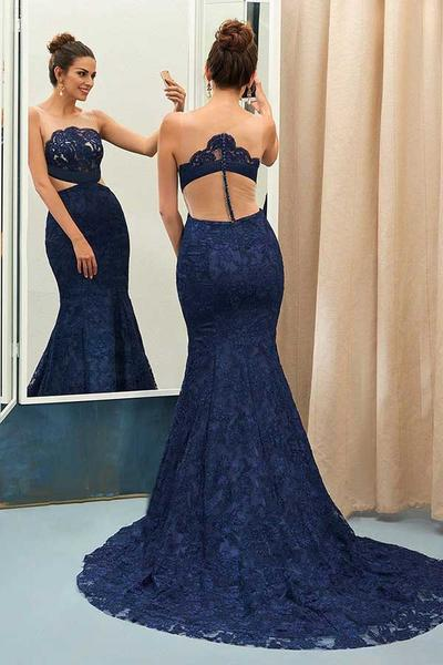 Unique Navy Blue Lace See-through Round Neck Mermaid Floor-length Prom Dress PFP0290
